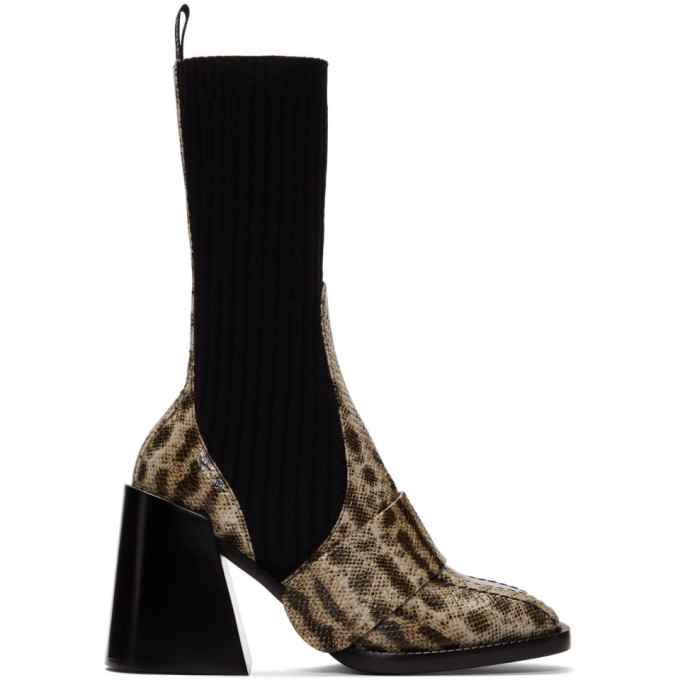 Chloe Beige Snake Bea Half-Sock Boots