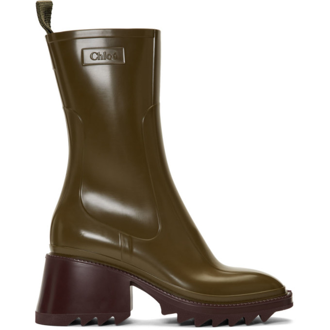 Chloe Khaki PVC Betty Rain Boots