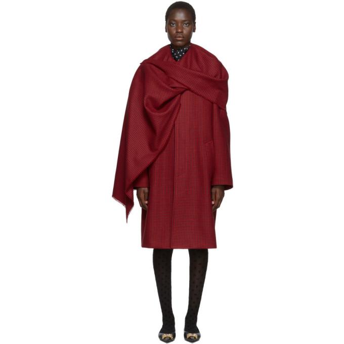 Balenciaga レッド ハウンズトゥース スカーフ コート