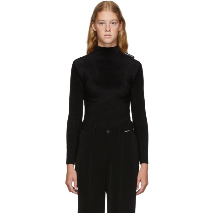 Balenciaga Knitwear BALENCIAGA BLACK VELVET KNIT HIGHNECK TOP