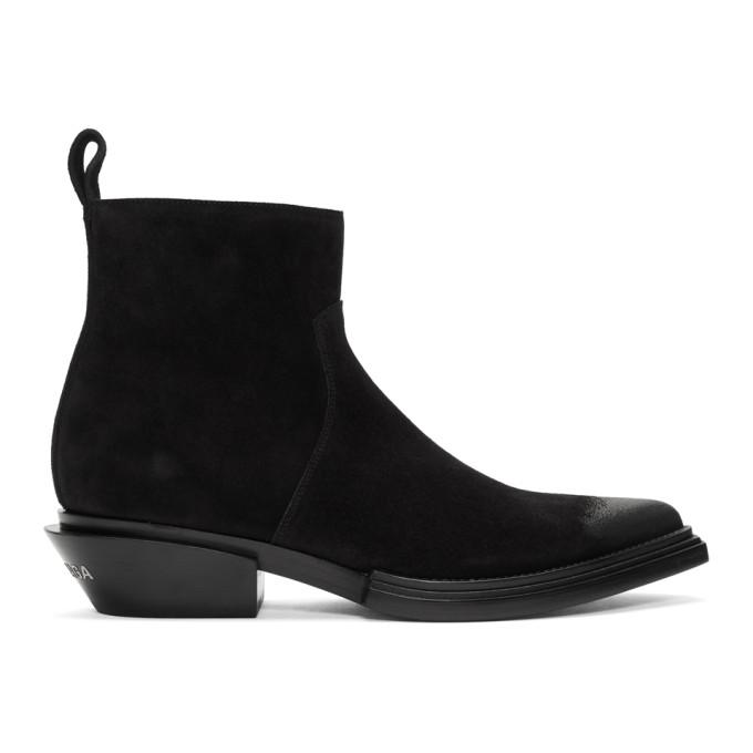 Buy Balenciaga Black Suede Santiag Boots online