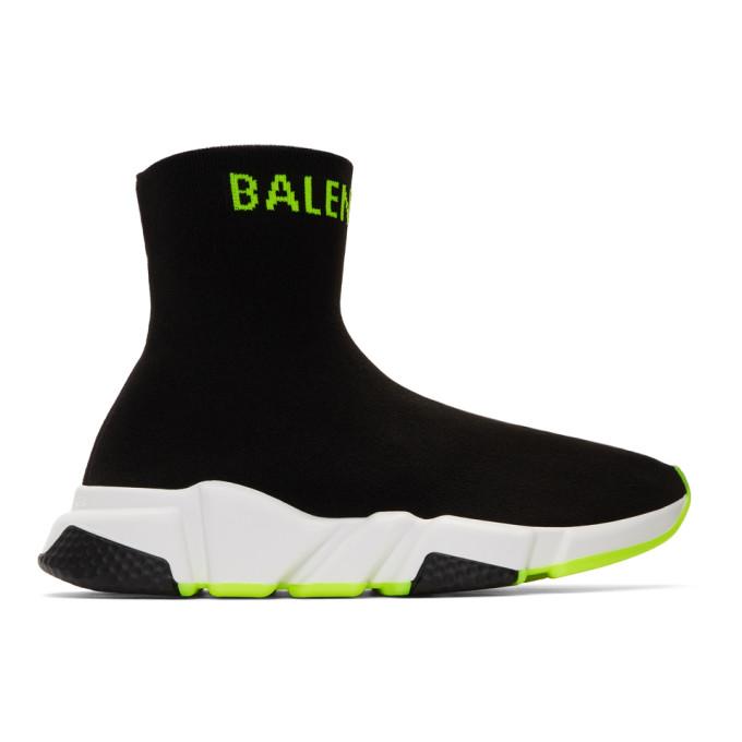 BALENCIAGA | Balenciaga Black And Yellow Logo Speed Sneakers | Goxip