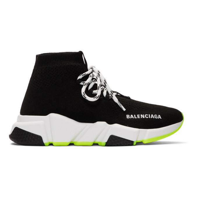 Balenciaga Black and White Lace-Up Speed Sneakers