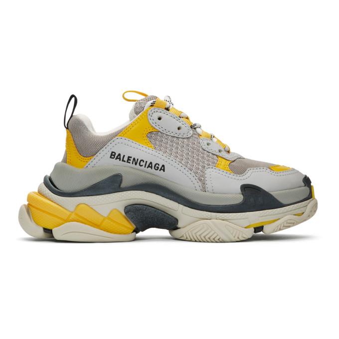 BALENCIAGA | Balenciaga Grey And Yellow Triple S Sneakers | Goxip