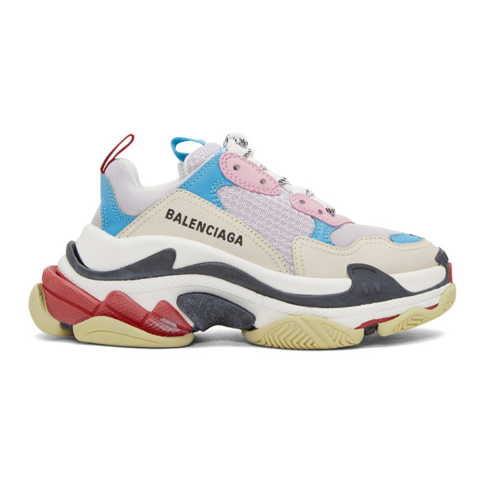 Balenciaga White and Blue Triple S Sneakers