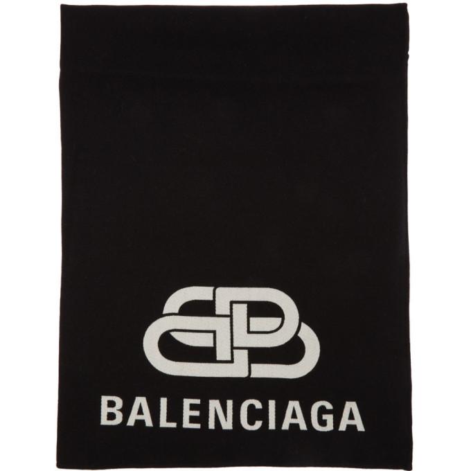Balenciaga ブラック BB ブランケット マフラー