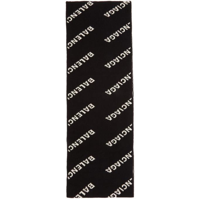 Balenciaga Foulard noir et blanc All Over Logo