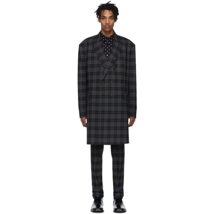 Balenciaga Black and Grey Checked Double-Breasted Jacket