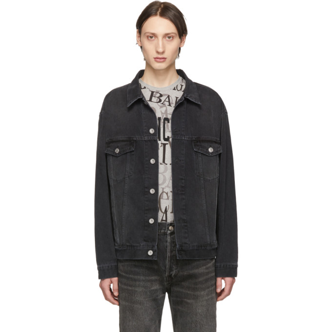 BALENCIAGA | Balenciaga Black Denim Wash Logo Jacket | Goxip