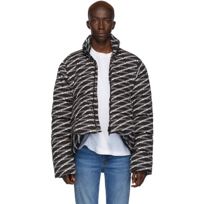 BALENCIAGA   Balenciaga Black And Grey Monogram C Shape Jacket   Goxip