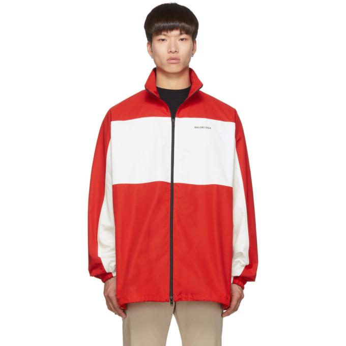 Balenciaga Red and White Zip Up Jacket