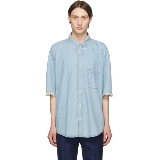 BALENCIAGA   Balenciaga Blue Denim Logo Shirt   Goxip