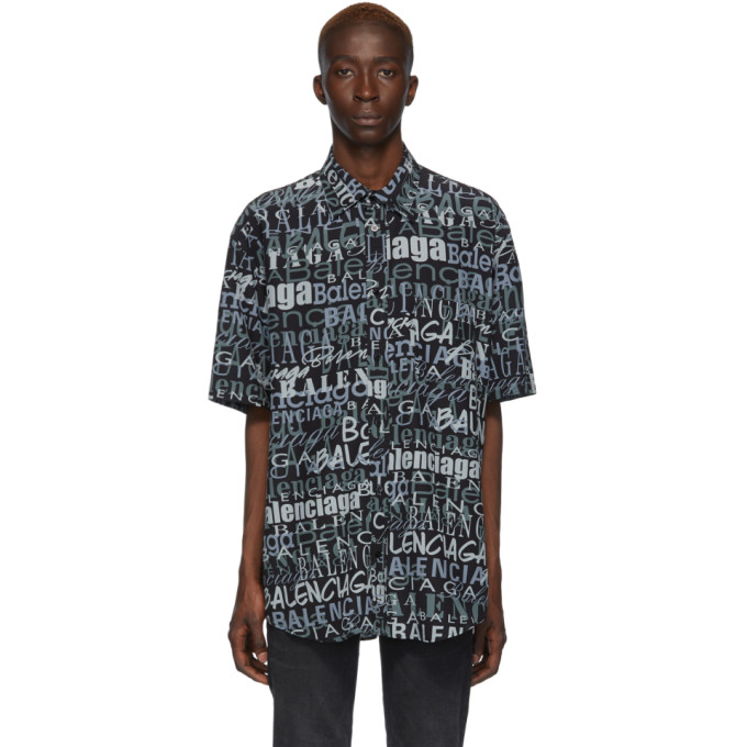 BALENCIAGA | Balenciaga Black And Grey Silk Mixed Typo Shirt | Goxip
