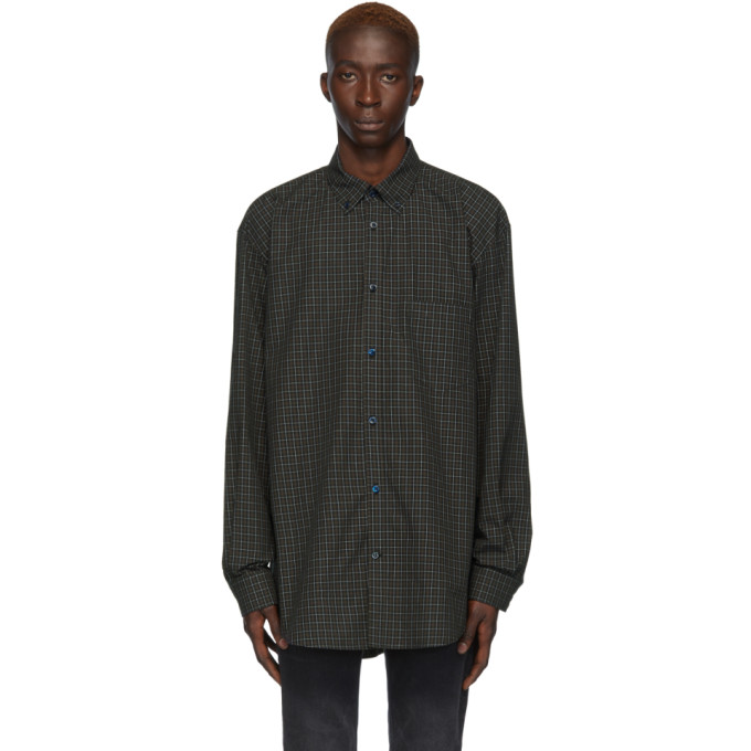 BALENCIAGA | Balenciaga Navy And Green Check Logo Shirt | Goxip