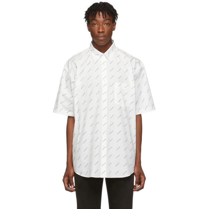 Balenciaga T-shirts BALENCIAGA WHITE AND BLACK ALLOVER LOGO SHORT SLEEVE SHIRT