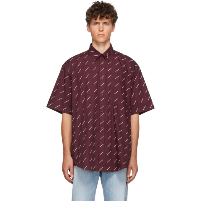Balenciaga T-shirts BALENCIAGA BURGUNDY ALL OVER LOGO SHORT SLEEVE SHIRT