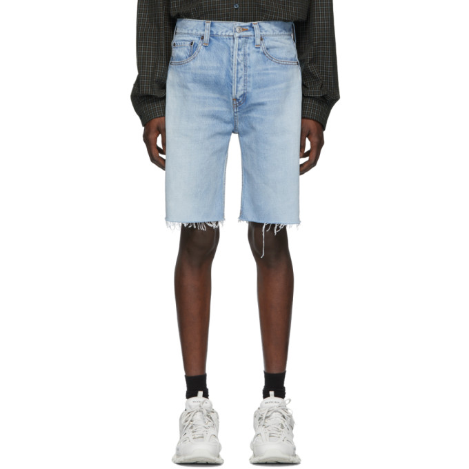 BALENCIAGA | Balenciaga Blue Denim Shorts | Goxip