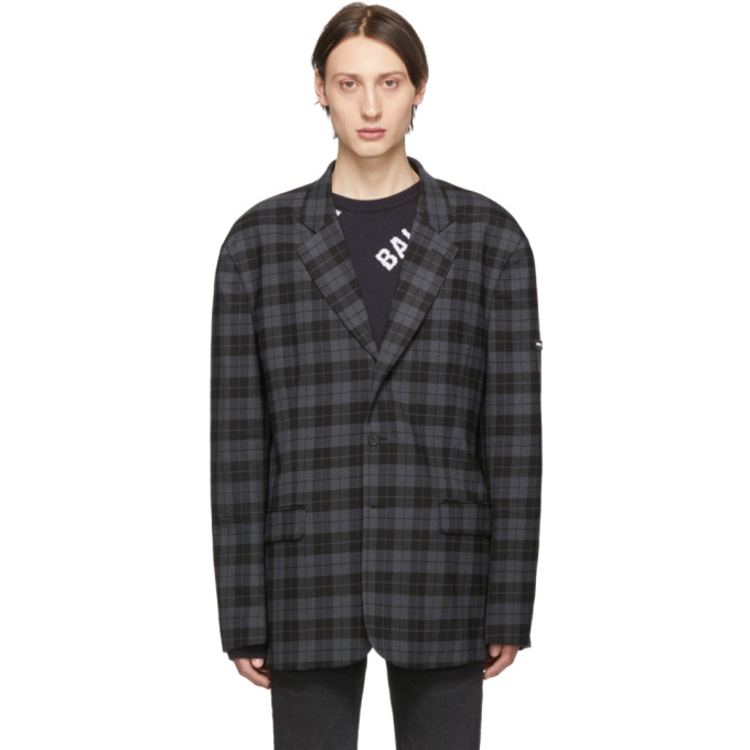 BALENCIAGA | Balenciaga Grey And Black Washed Single-Breasted Blazer | Goxip