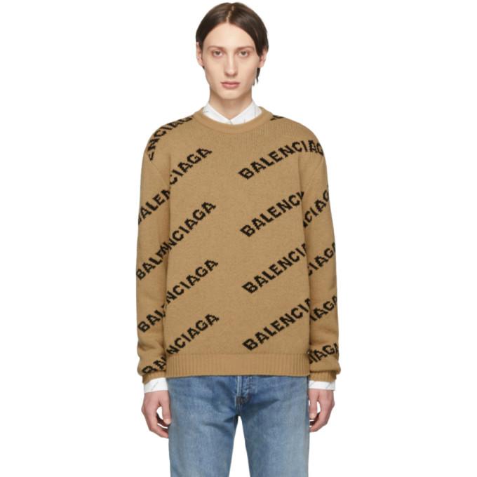 BALENCIAGA   Balenciaga Beige And Black Jacquard Logo Sweater   Goxip
