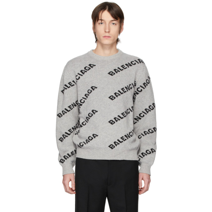 Balenciaga Grey and Black All Over Logo Sweater