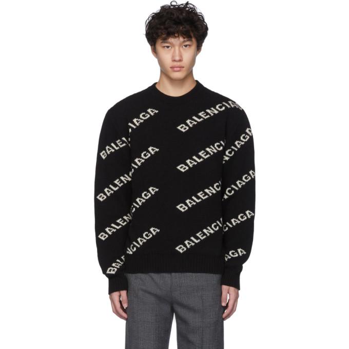 Balenciaga Sweaters BLACK & WHITE ALL OVER LOGO SWEATER