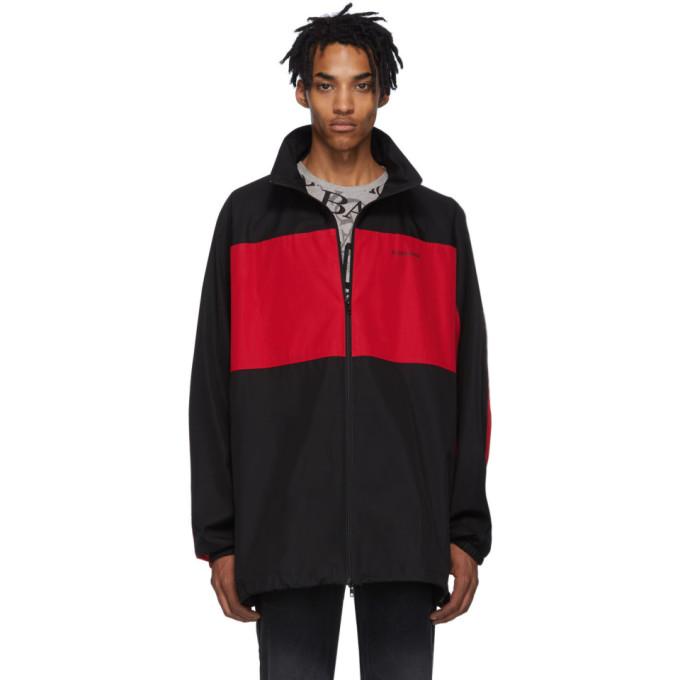 Balenciaga Balenciaga Black and Red Poplin Zip-Up Jacket