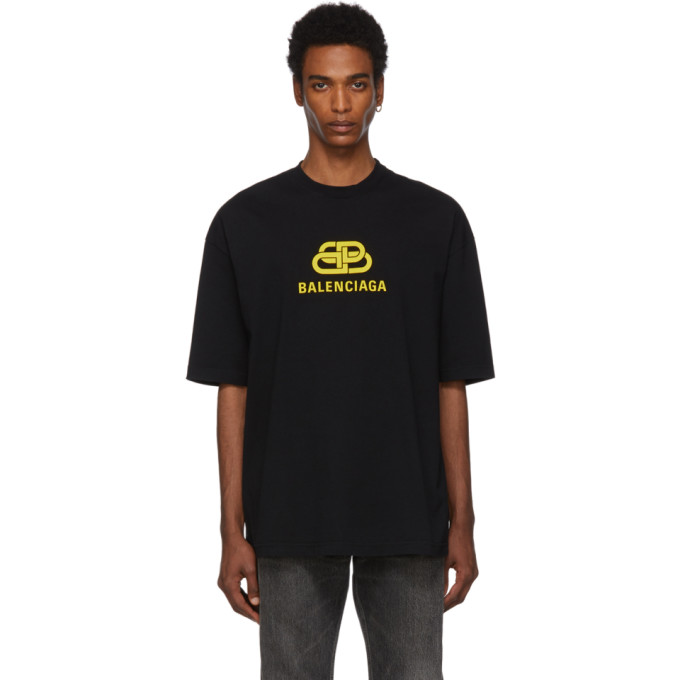 BALENCIAGA | Balenciaga Black And Yellow BB T-Shirt | Goxip