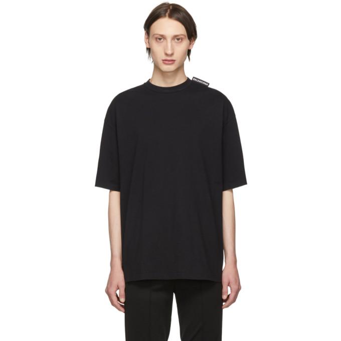 BALENCIAGA | Balenciaga Black Logo Tab T-Shirt | Goxip
