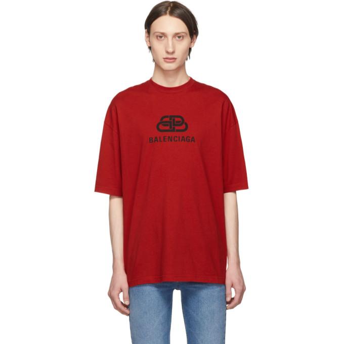 BALENCIAGA | Balenciaga Red BB T-Shirt | Goxip