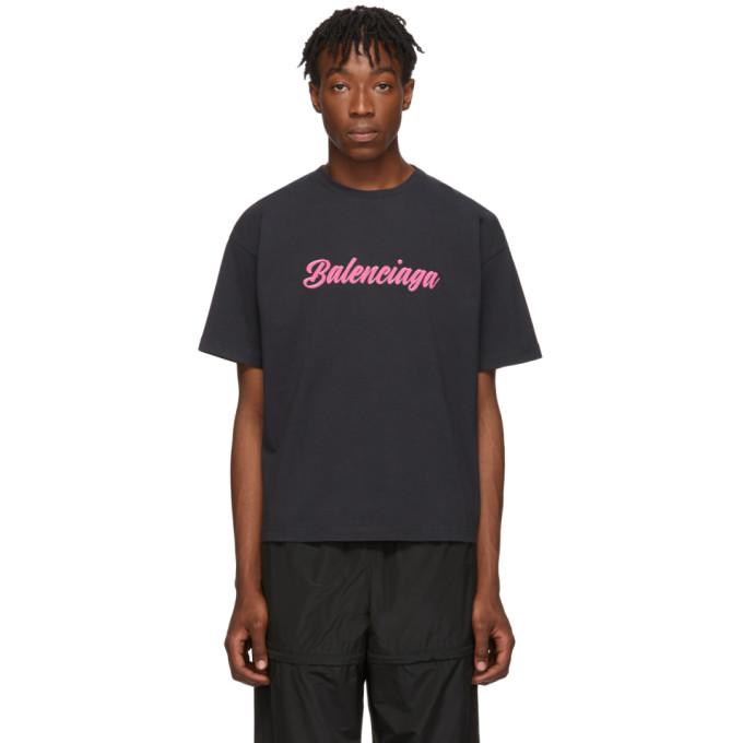 Balenciaga Black Glossy Regular Fit T-Shirt
