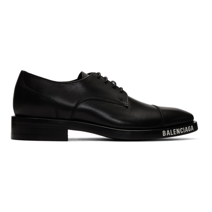Balenciaga Logo-print Soft Derby Shoes In Vegetal Leather In Black