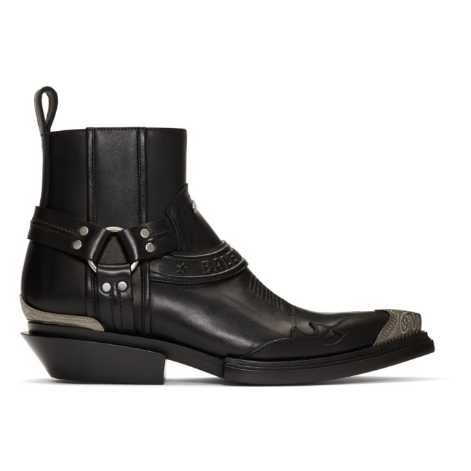 Balenciaga Black Santiag Harness Boots