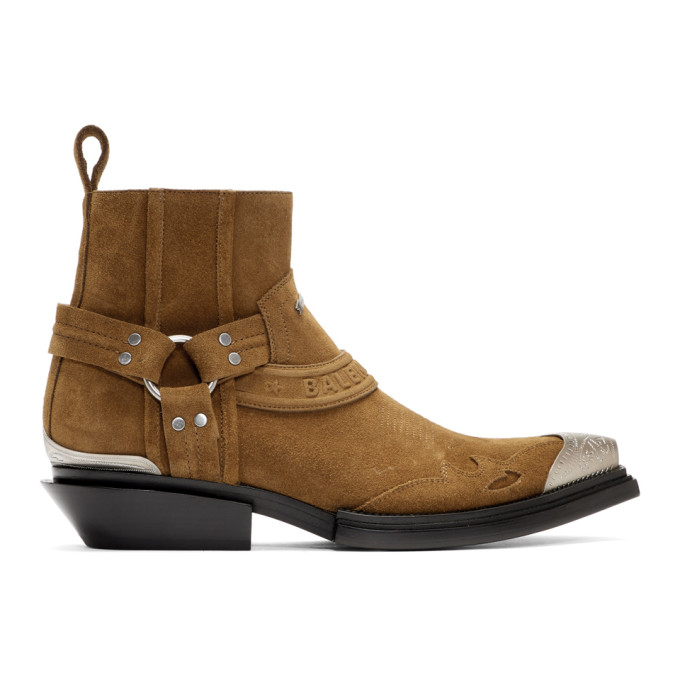 Balenciaga Brown Santiag Harness Booties
