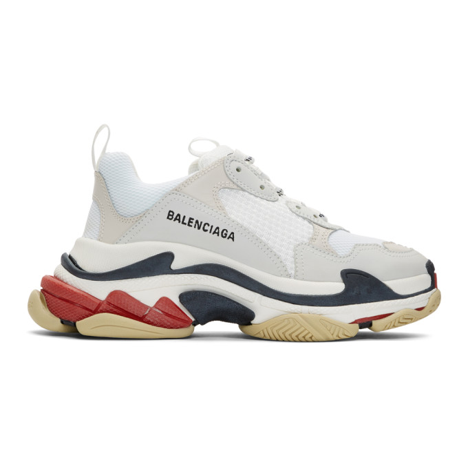 Balenciaga White and Red Triple S Sneakers