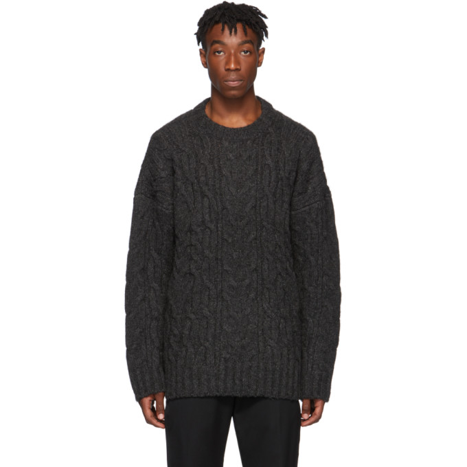 Juun.J Grey Knit Crewneck Sweater