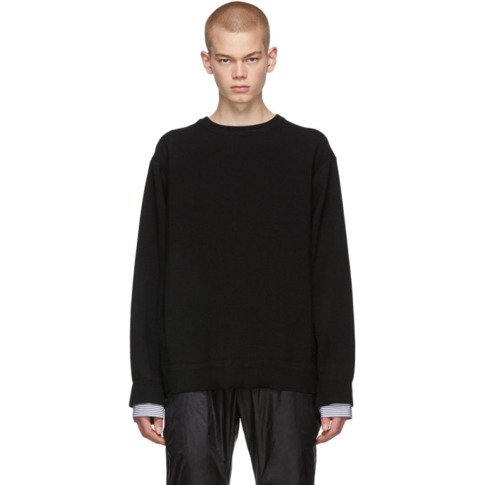 Juun.J Black Layered Crewneck Sweater