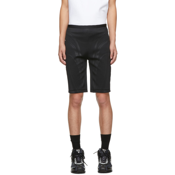 Mugler Black Embossed Bicycle Shorts