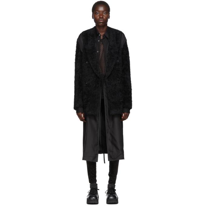 Comme des Garcons Homme Plus ブラック ウール フェイクファー コート