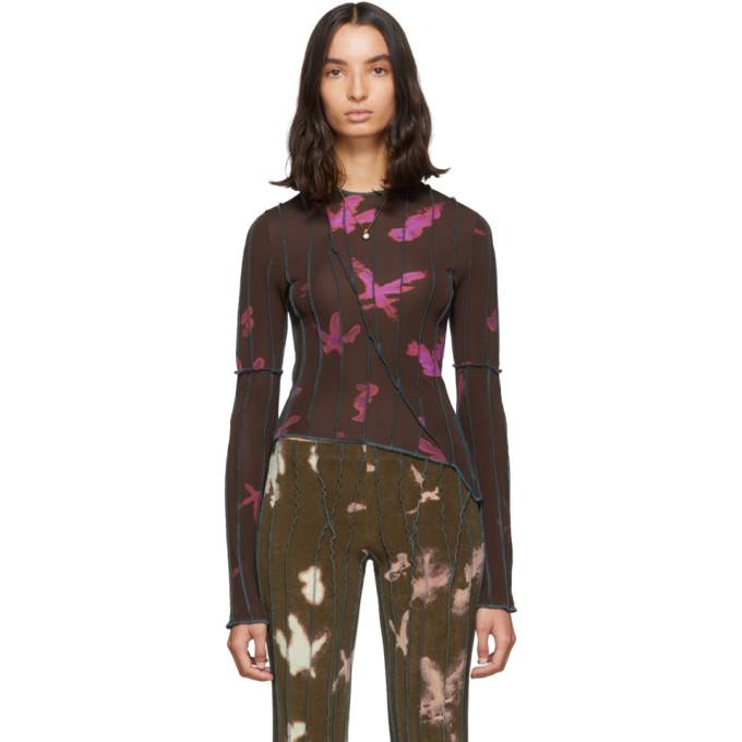 Helenamanzano T-shirt a manches longues brun et rose Aguamarina exclusif a SSENSE