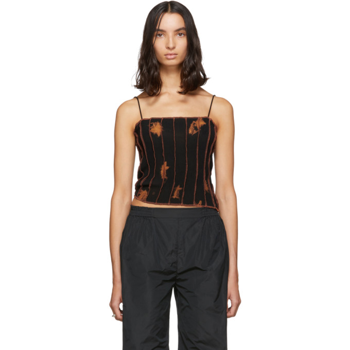 Helenamanzano Debardeur noir et orange 3D Stripe exclusif a SSENSE