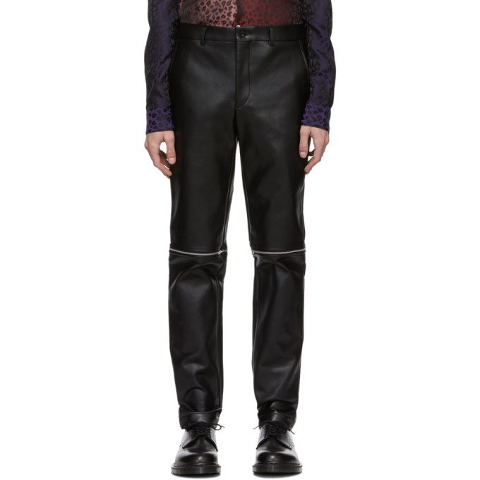 Comme des Garcons Homme Plus Black Faux-Leather Zippered Trousers