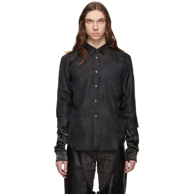 Comme Des Garçons Homme Deux T-shirts COMME DES GARCONS HOMME PLUS BLACK JACQUARD FLOWER CRUSHED VELOUR SHIRT