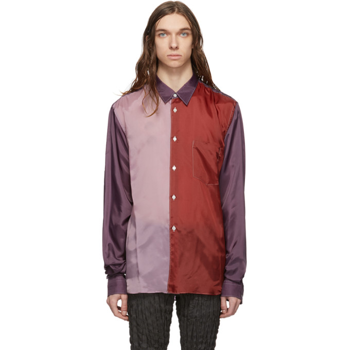Comme des Garcons Homme Plus Chemise en taffetas contrastee mauve et rouge