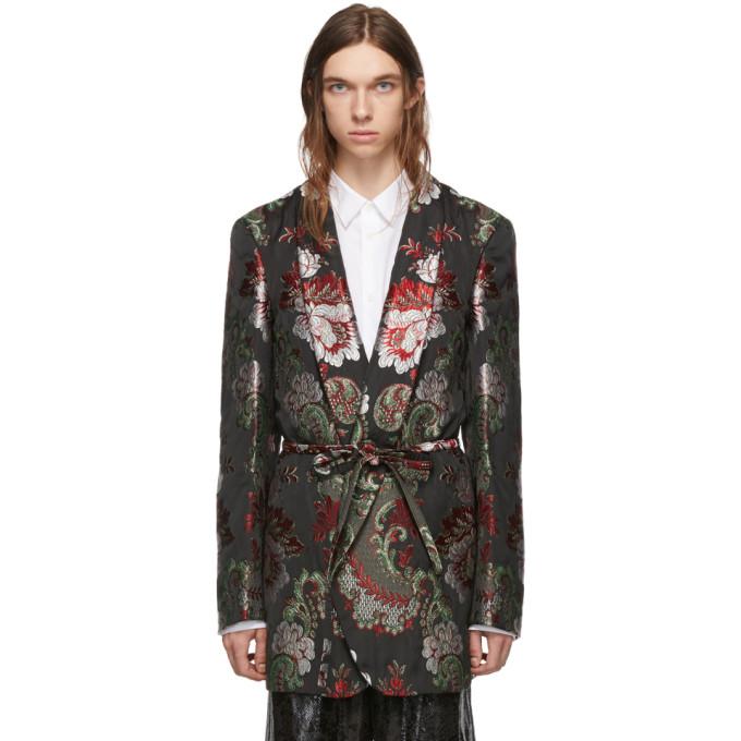 Comme des Garcons Homme Plus Blazer a ceinture et motif fleuri noir et multicolore