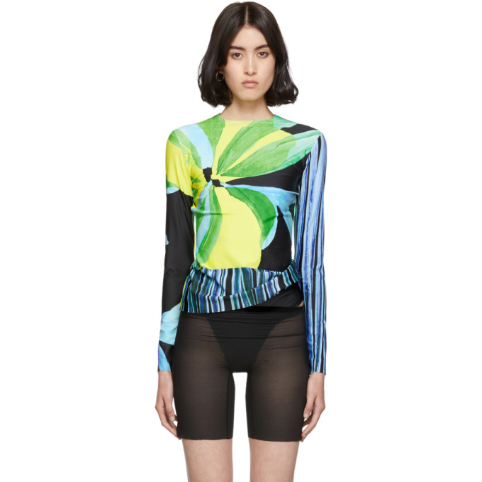 Louisa Ballou T-shirt a manches longues multicolore Panel exclusif a SSENSE