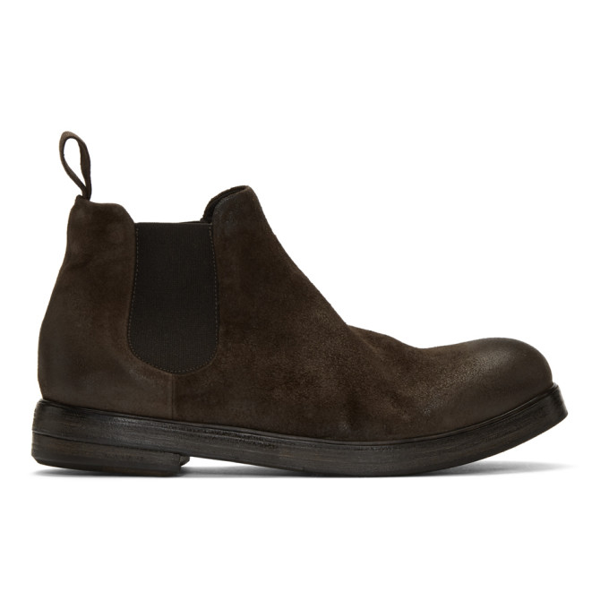 Marsell Brown Suede Zucca Zeppa Beatles Chelsea Boots