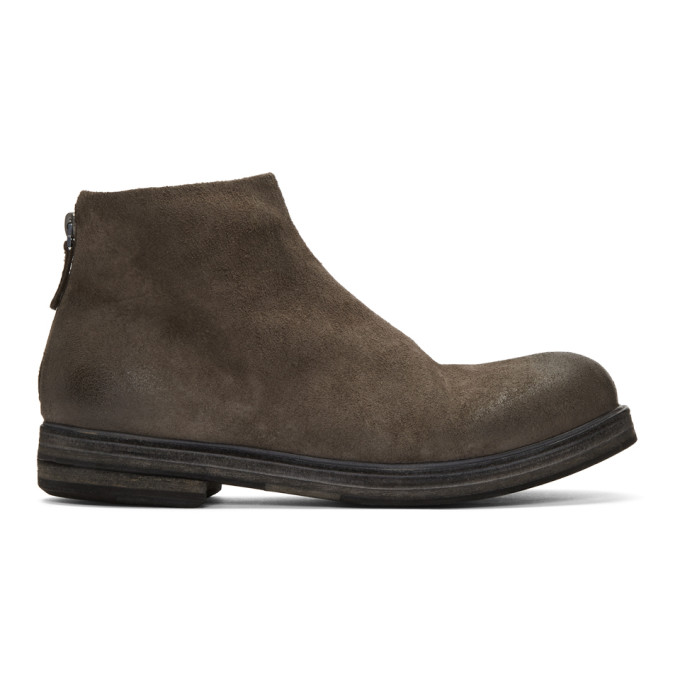 Marsell Grey Suede Zucca Zeppa Tronchetto Boots