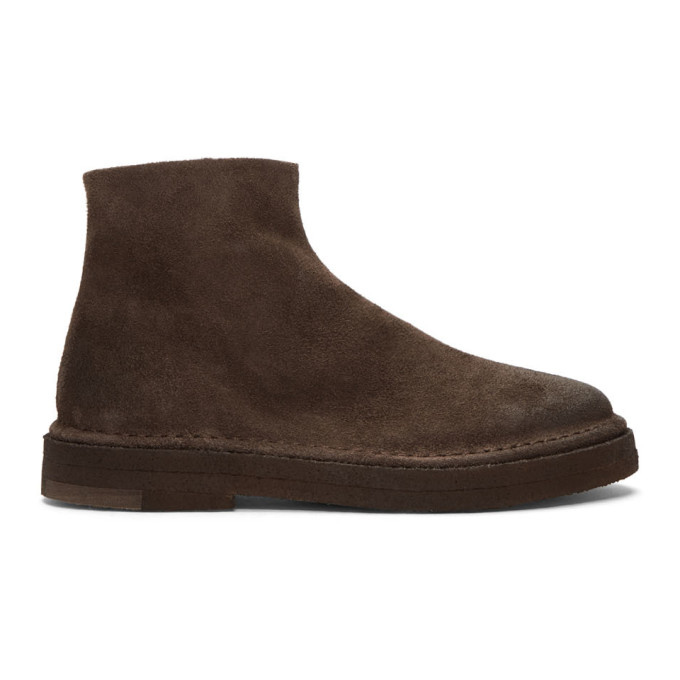 Marsell Brown Suede Parapa Tronchetto Zip Boots