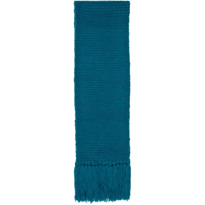 Dries Van Noten Foulard surdimensionne en laine bleu