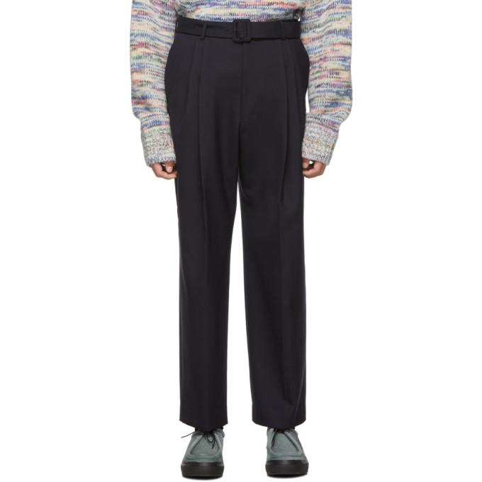 Dries Van Noten Navy Wool Trousers